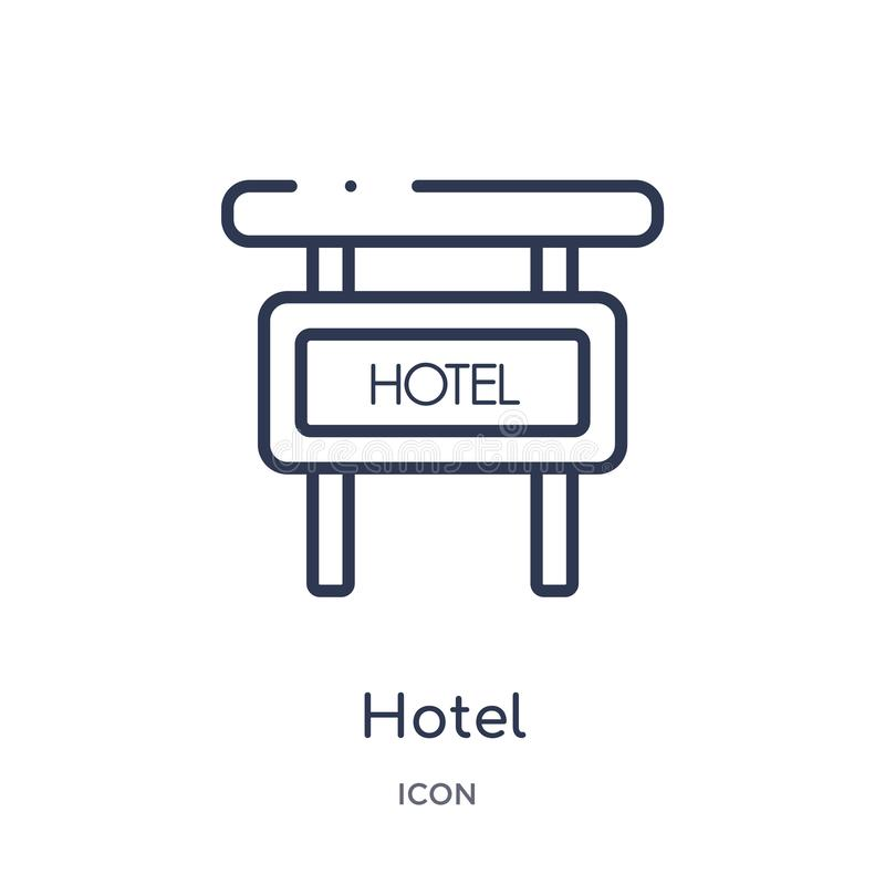 Linear hotel icon from Hotel and restaurant outline collection. Thin line hotel icon isolated on white background. hotel trendy royalty free illustration