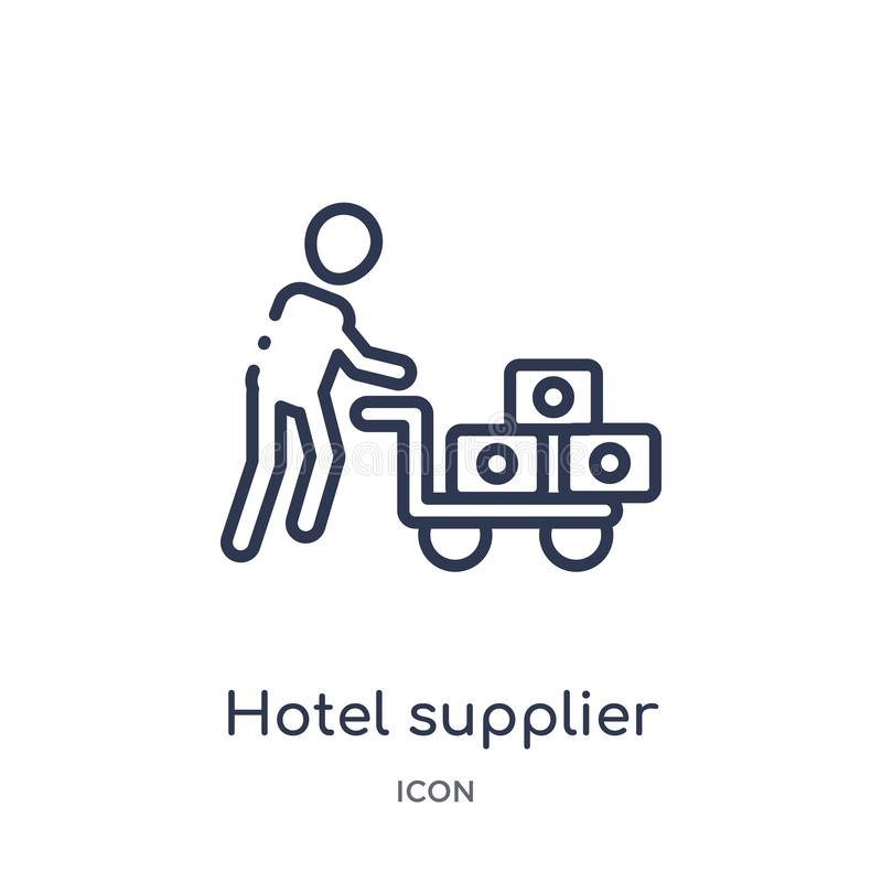 Linear hotel supplier icon from Humans outline collection. Thin line hotel supplier icon isolated on white background. hotel vector illustration