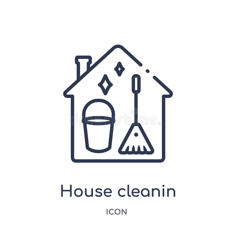 Linear house cleanin icon from Cleaning outline collection. Thin line house cleanin vector isolated on white background. house stock illustration