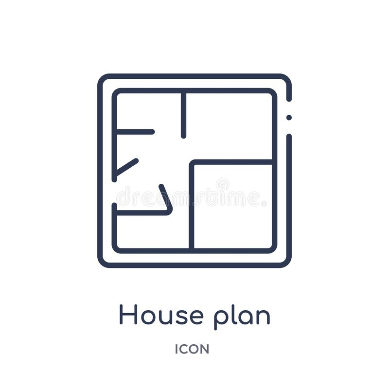Linear house plan icon from Construction outline collection. Thin line house plan vector isolated on white background. house plan vector illustration