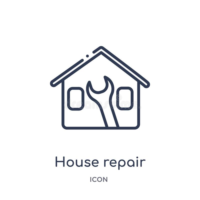 Linear house repair icon from Buildings outline collection. Thin line house repair icon isolated on white background. house repair vector illustration