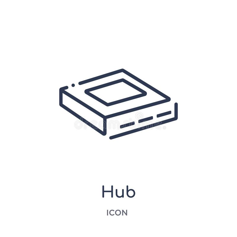 Linear hub icon from Internet security and networking outline collection. Thin line hub icon isolated on white background. hub stock illustration