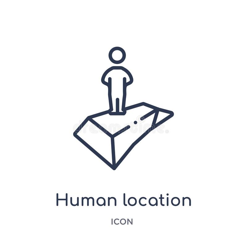 Linear human location icon from Maps and locations outline collection. Thin line human location icon isolated on white background vector illustration