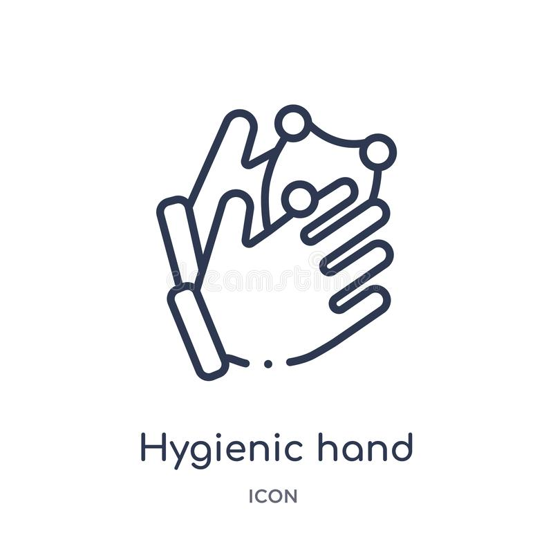 Linear hygienic hand icon from Hands and guestures outline collection. Thin line hygienic hand icon isolated on white background. stock illustration