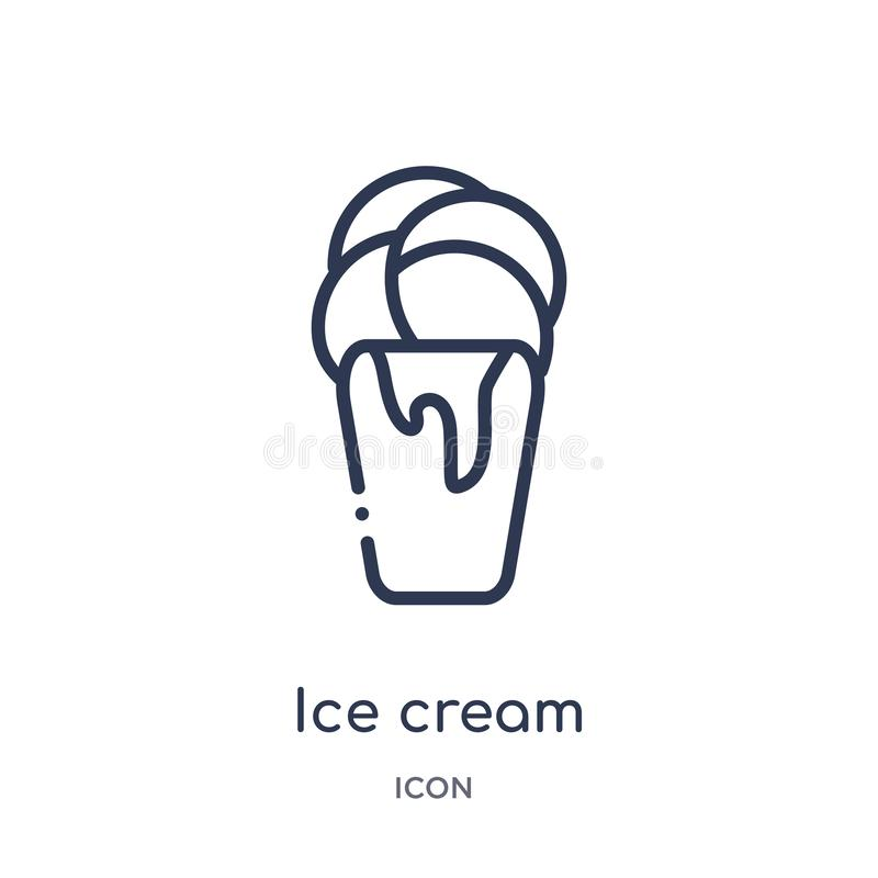 Linear ice cream icon from Brazilia outline collection. Thin line ice cream vector isolated on white background. ice cream trendy stock illustration