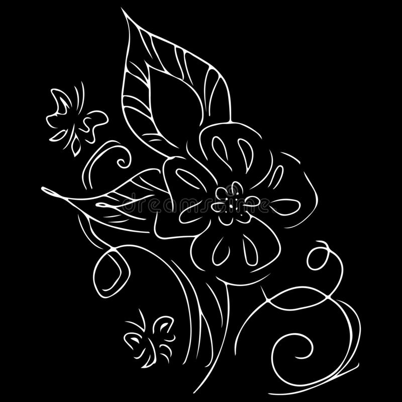 Linear icon with black flowers outline hand on white background. Vector sketch. Logo design. Cute hand drawn illustration. Flower stock illustration
