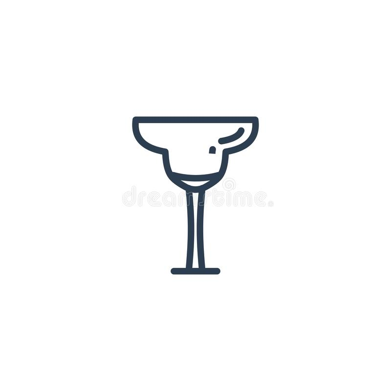 Linear icon of a glass of Margarita. Isolated on a white background royalty free illustration