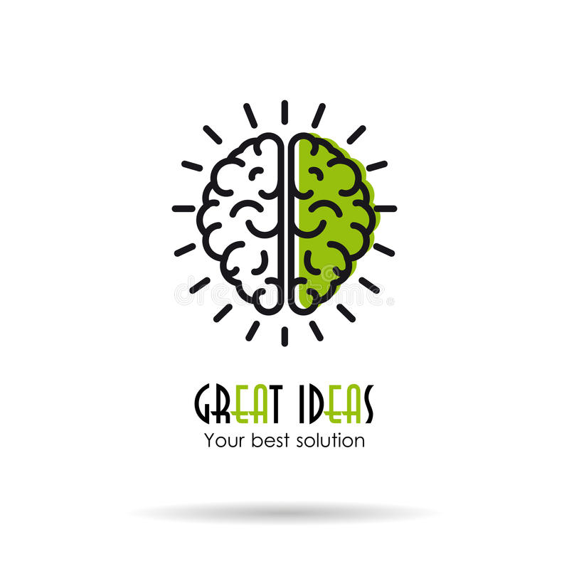 Linear Icon - Great ideas - brain royalty free illustration