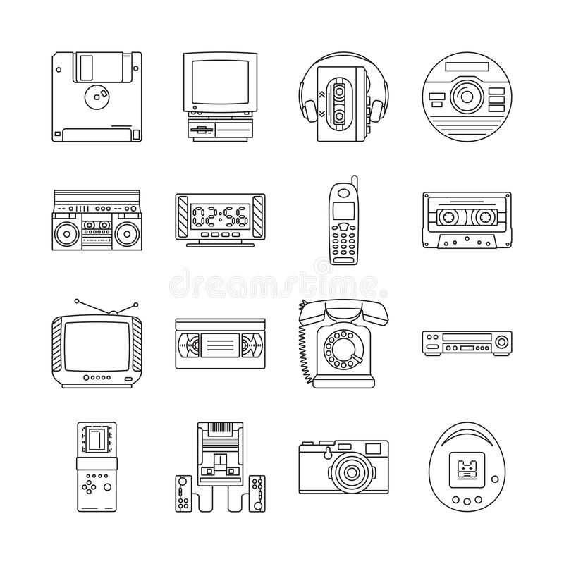Linear icons set with gadgets of 90s. Retro devices with audio cassette player, tetris, game console, ets stock illustration