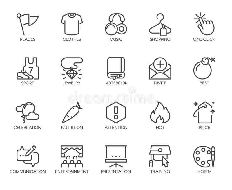 20 linear icons on sports, healthy eating, lifestyle, hobbies, online shopping and web education. Vector isolated. 20 linear icons on sports, healthy eating royalty free illustration