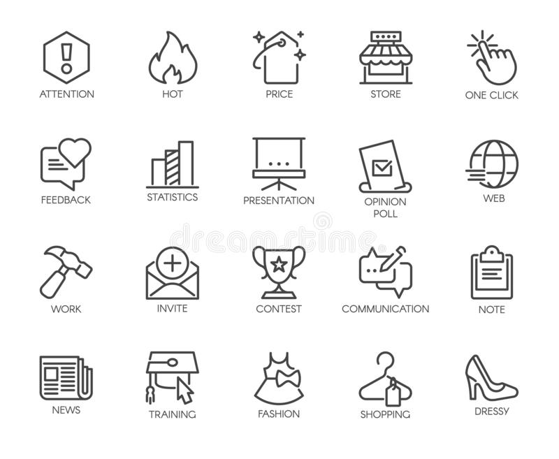 20 linear icons on the subject of online communication and shopping, work and business themes. Vector isolated royalty free illustration