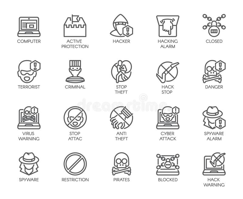 Linear icons of virtual protection, cyberattacks, computer viruses, hacking theme. 20 outline labels isolated on white vector illustration