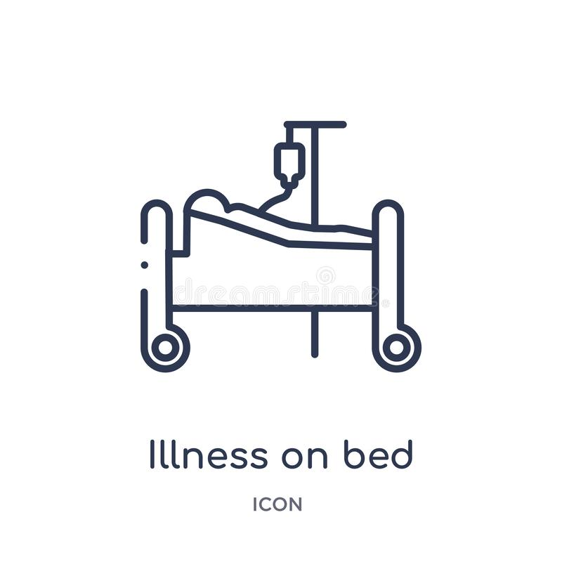 Linear illness on bed icon from Medical outline collection. Thin line illness on bed icon isolated on white background. illness on vector illustration