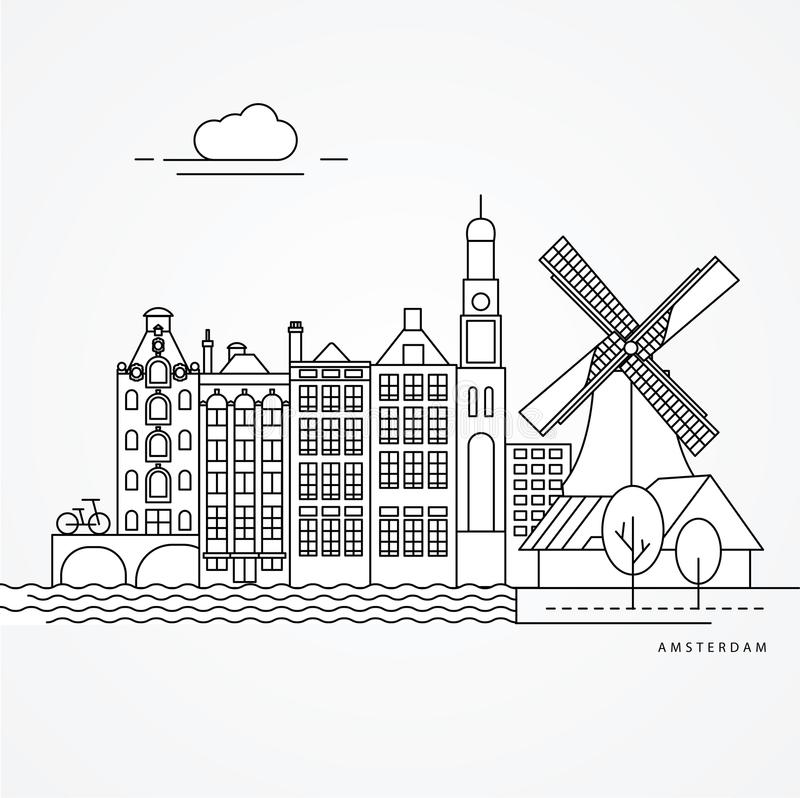 Linear illustration of Amsterdam, Netherlands. Flat one line style. Trendy vector illustration. Architecture line cityscape with famous landmarks, city sights royalty free illustration