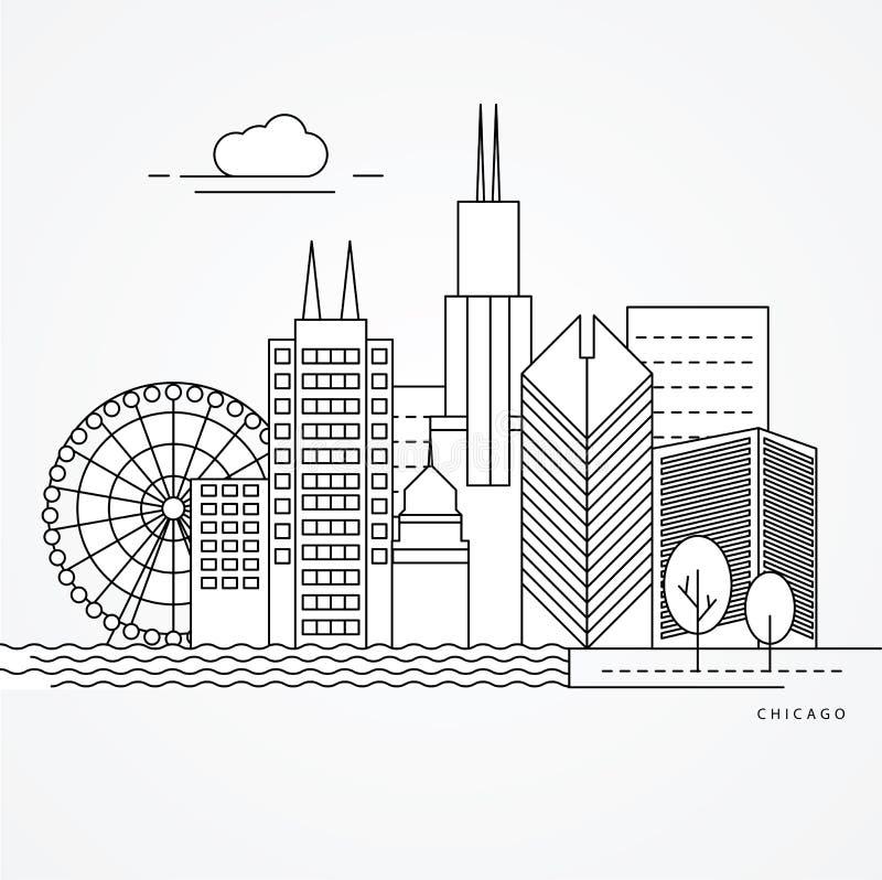 Linear illustration of Chicago, US. royalty free illustration