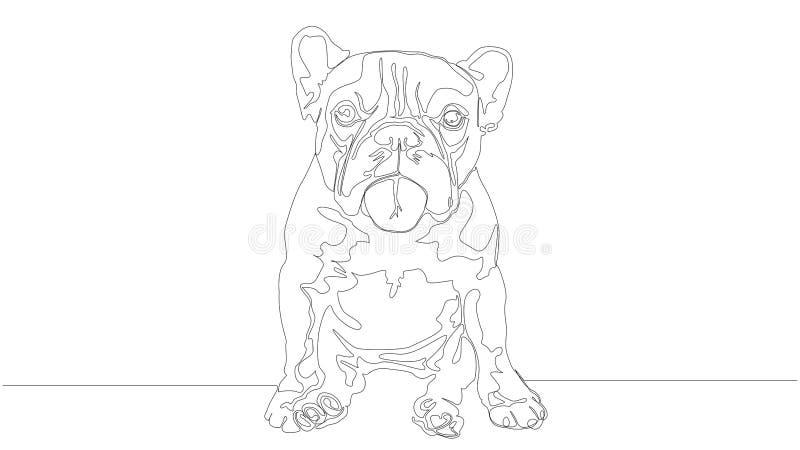 Linear illustration of cute bulldog single line royalty free illustration