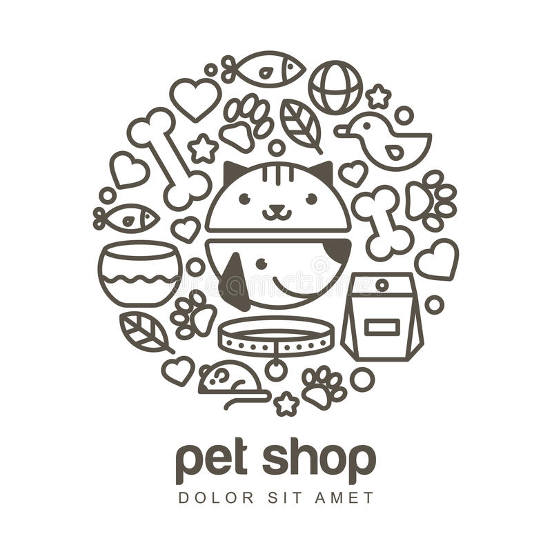 Linear illustration of funny muzzle of cat and dog. Goods for an. Imals, vector icons set. Abstract design concept for pet shop or veterinary stock illustration