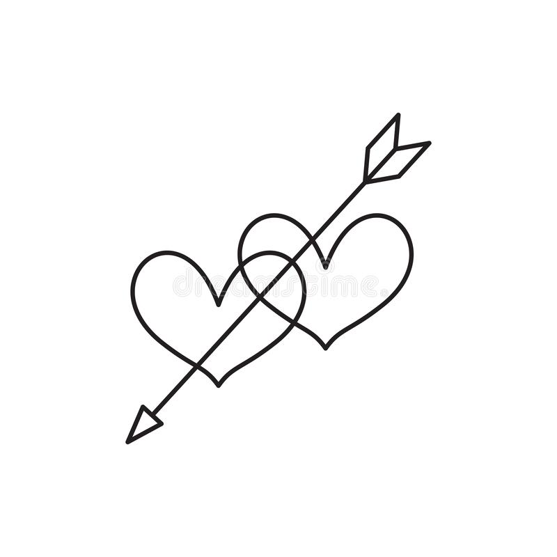 Heart icon, love symbol in engraving style. Or etching. Stylized vector heart, consisting of black lines on white background. Line creative symbol. Stylish stock illustration
