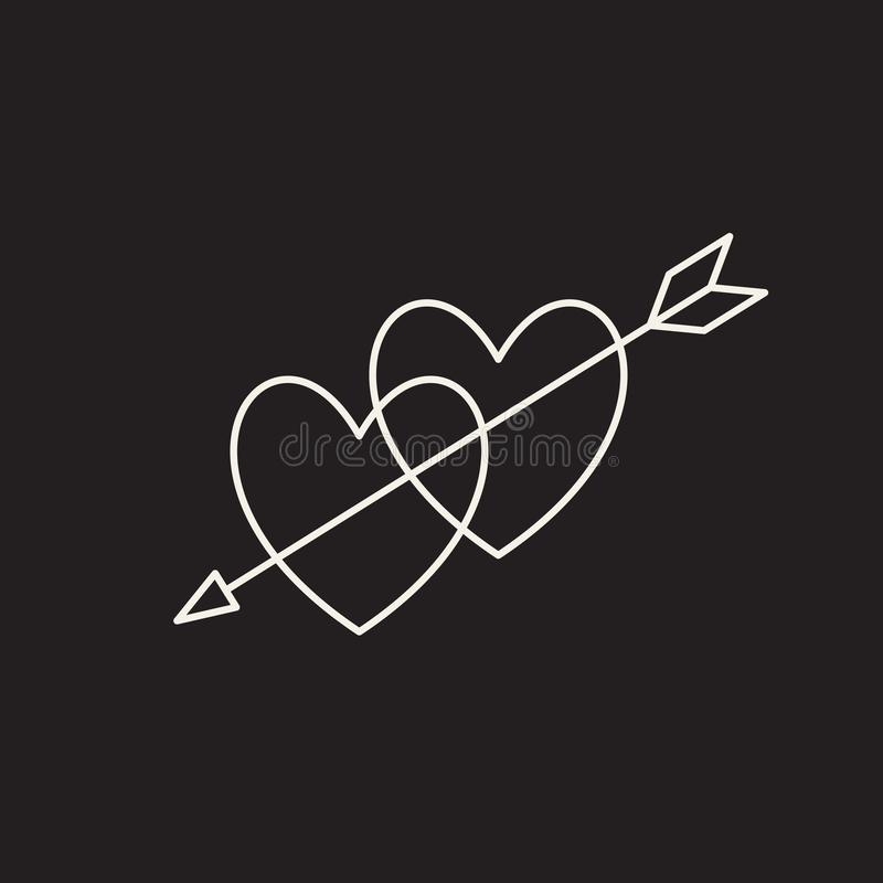 Heart icon, love symbol in engraving style. Or etching. Stylized vector heart, consisting of black lines on white background. Line creative symbol. Stylish royalty free illustration