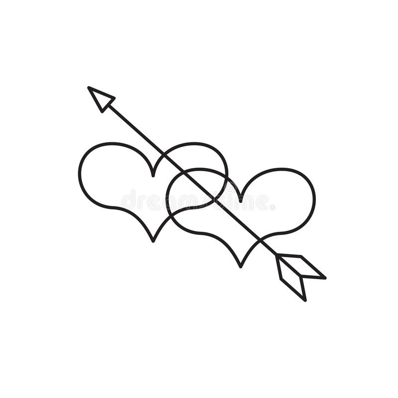 Heart icon, love symbol in engraving style. Or etching. Stylized vector heart, consisting of black lines on white background. Line creative symbol. Stylish vector illustration