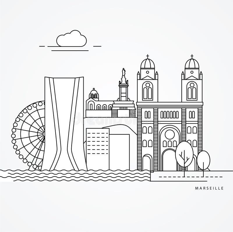 Linear illustration of Marseille, France. vector illustration
