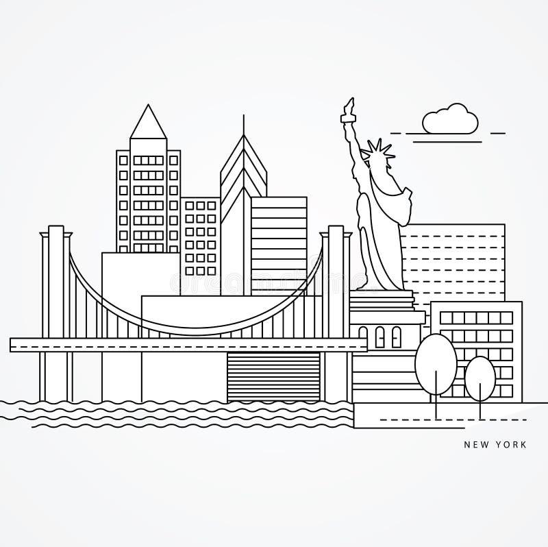 Linear illustration of New York, US Flat one line style. Greatest landmark - Statue of Liberty vector illustration