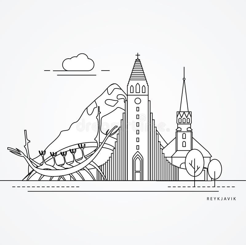 Linear illustration of Reykjavik, Iceland. Flat one line style. royalty free illustration