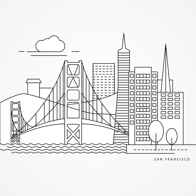 Linear illustration of San Francisco, USA. Flat one line style. Greatest landmark - Golden Gate bridge. vector illustration