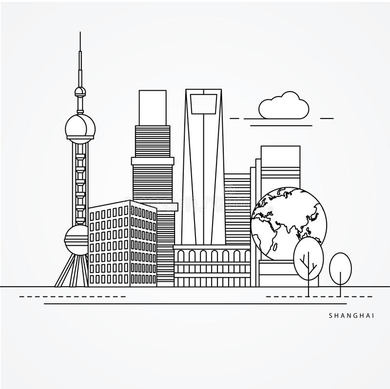 Linear illustration of Shanghai, China. royalty free illustration