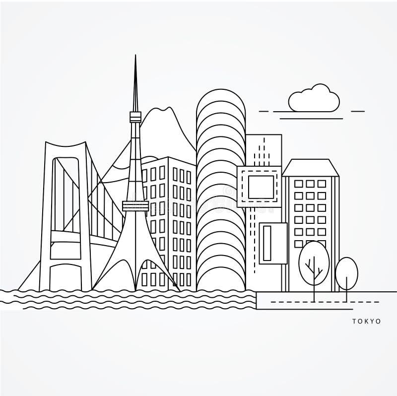 Linear illustration of Tokyo, Japan. Flat one line style. vector illustration