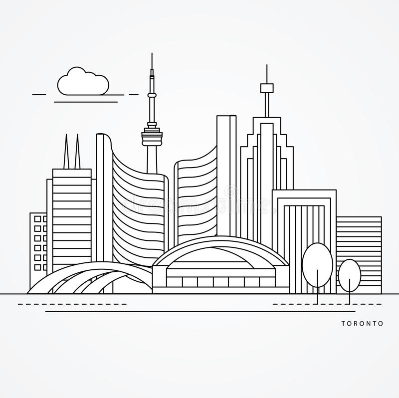 Linear illustration of Toronto, Canada. Flat one line style. Trendy vector illustration. Greatest landmark - City Hall vector illustration