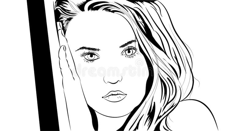 Linear image of a beautiful girl in black and white vector illustration