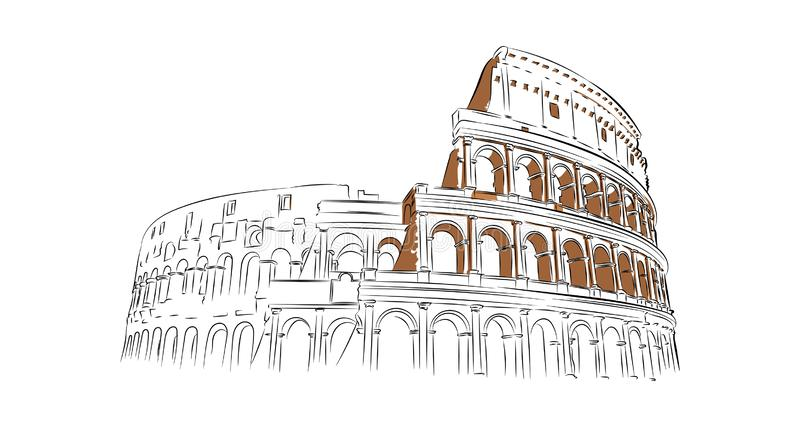 Linear image of the Colosseum on a white background royalty free illustration