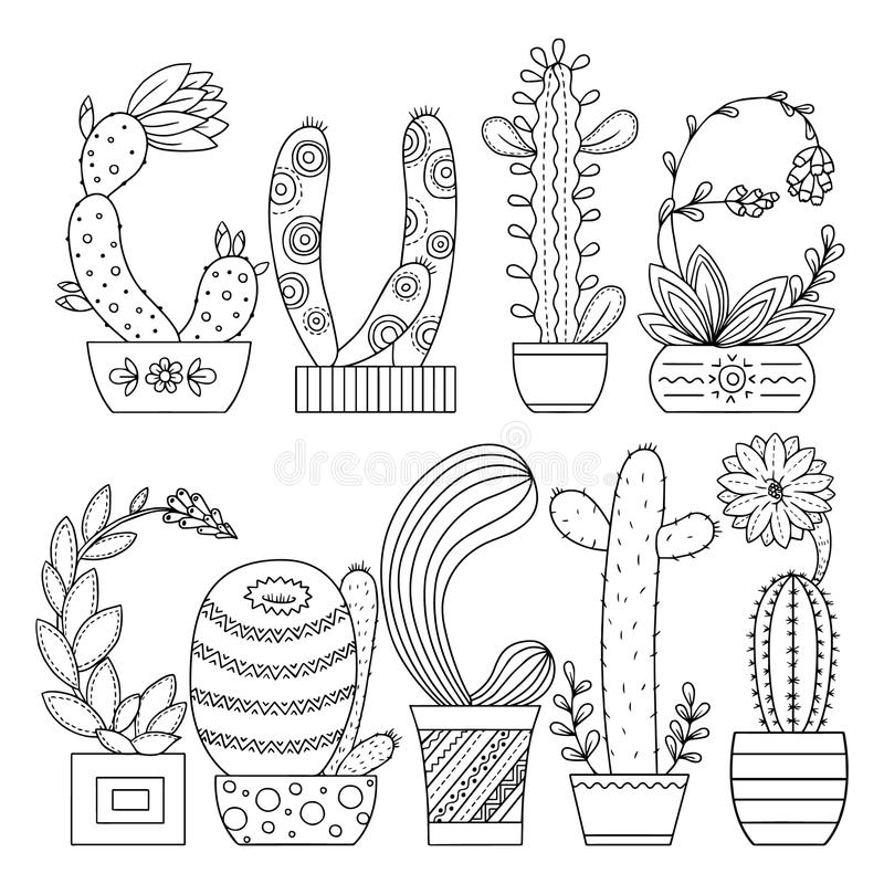 download vector coloring page linear image on white background cute cactus for page for coloring