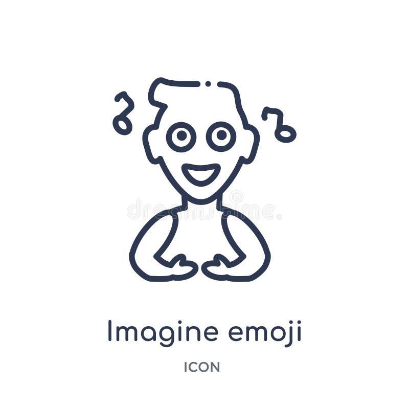 Linear imagine emoji icon from Emoji outline collection. Thin line imagine emoji vector isolated on white background. imagine. Emoji trendy illustration vector illustration