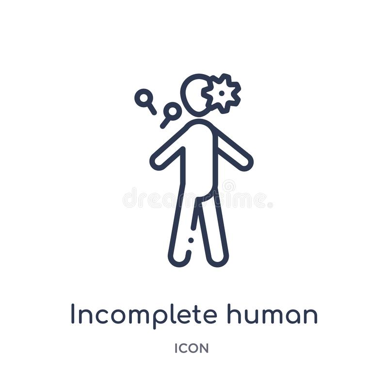 Linear incomplete human icon from Feelings outline collection. Thin line incomplete human vector isolated on white background. Incomplete human trendy vector illustration