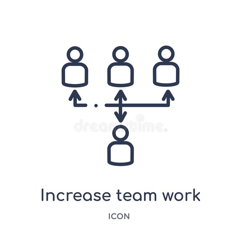 Linear increase team work icon from Business outline collection. Thin line increase team work icon isolated on white background. stock illustration