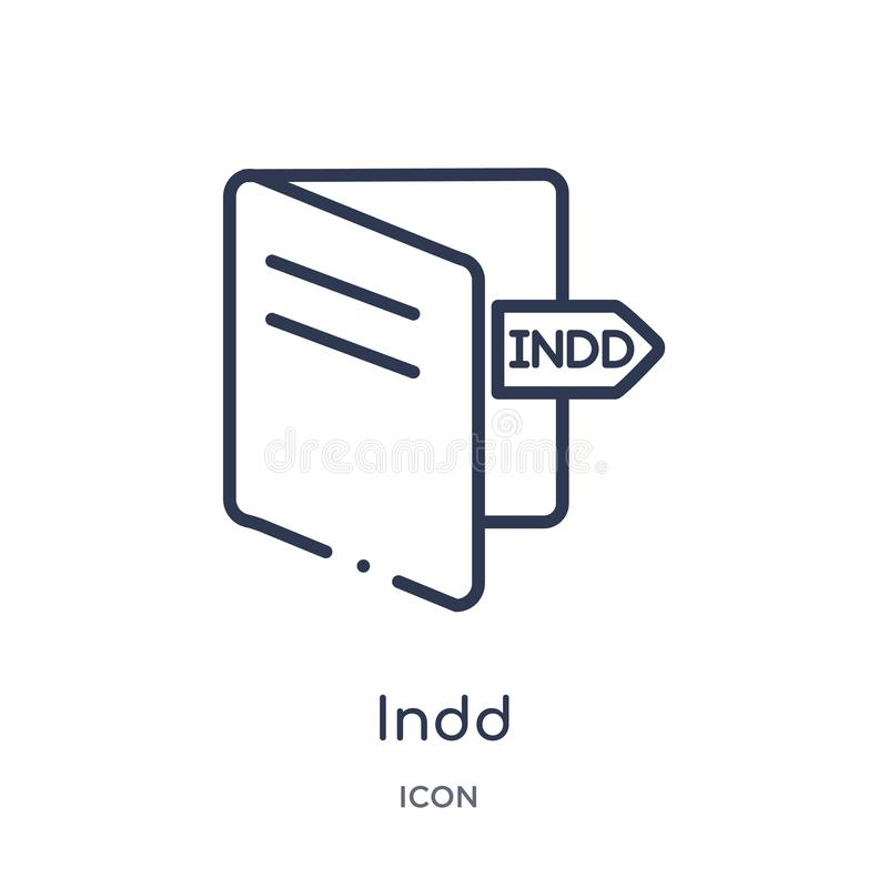 Linear indd icon from File type outline collection. Thin line indd vector isolated on white background. indd trendy illustration. Icon vector illustration