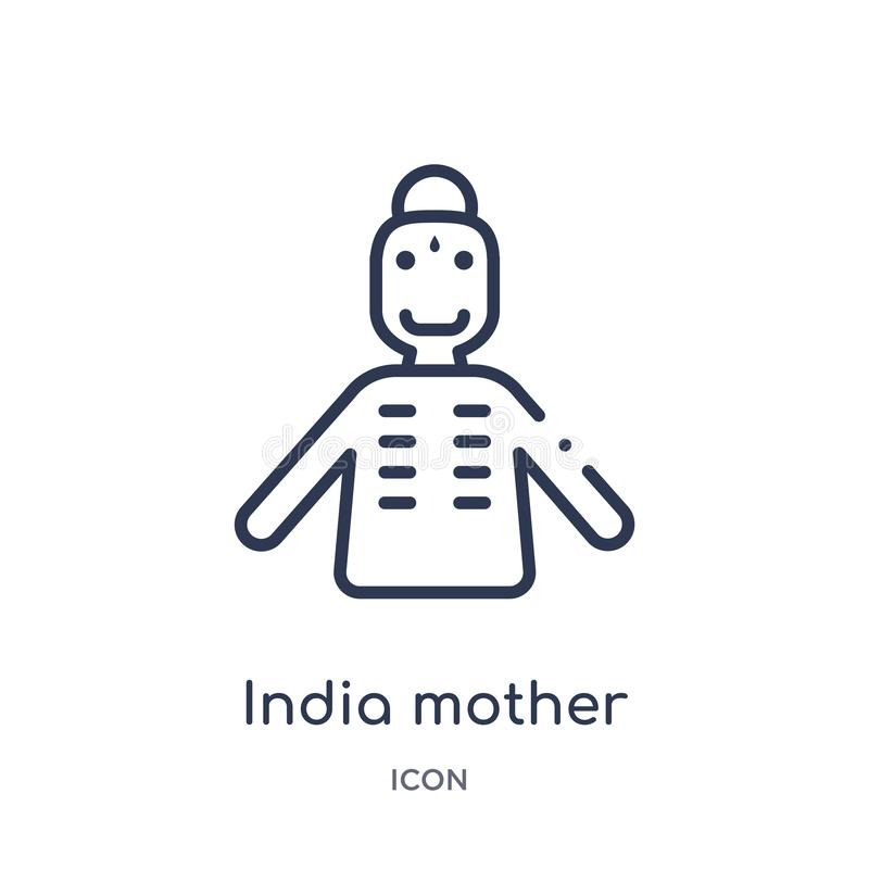 Linear india mother icon from India outline collection. Thin line india mother icon isolated on white background. india mother stock illustration