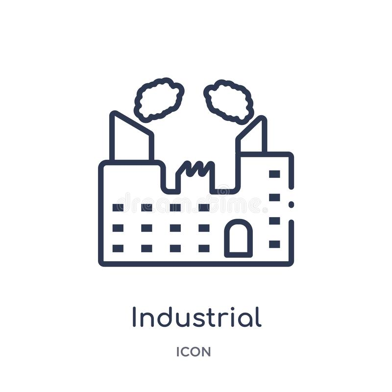 Linear industrial building with contaminants icon from Army outline collection. Thin line industrial building with contaminants. Vector stock illustration