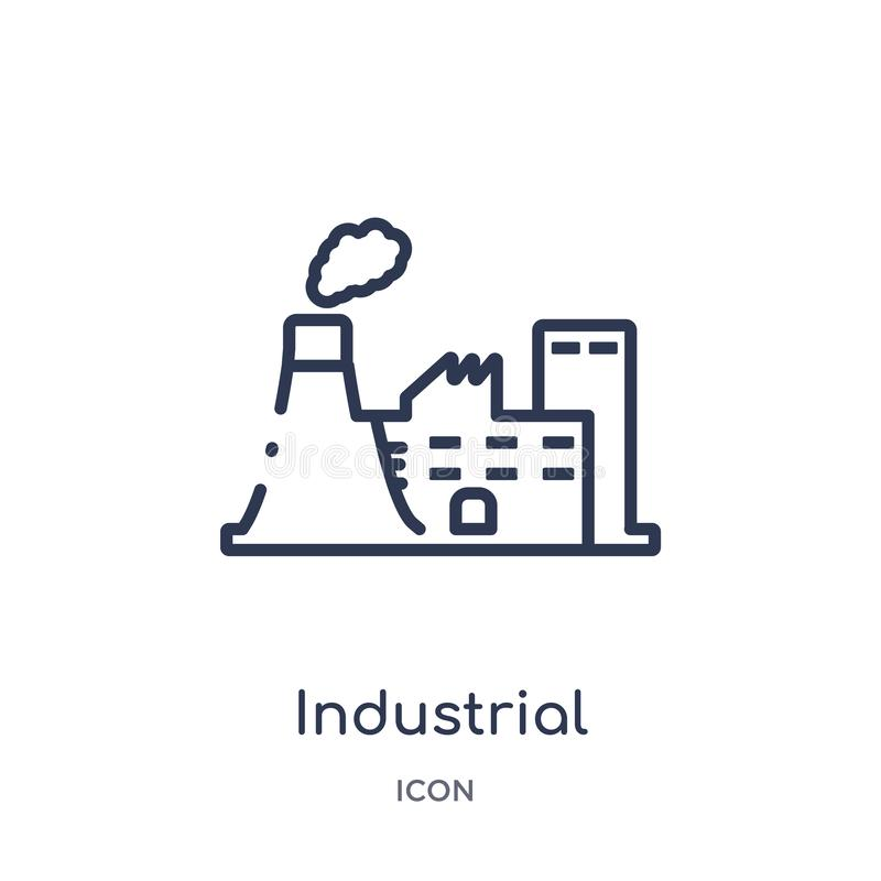Linear industrial building icon from Army outline collection. Thin line industrial building vector isolated on white background. vector illustration