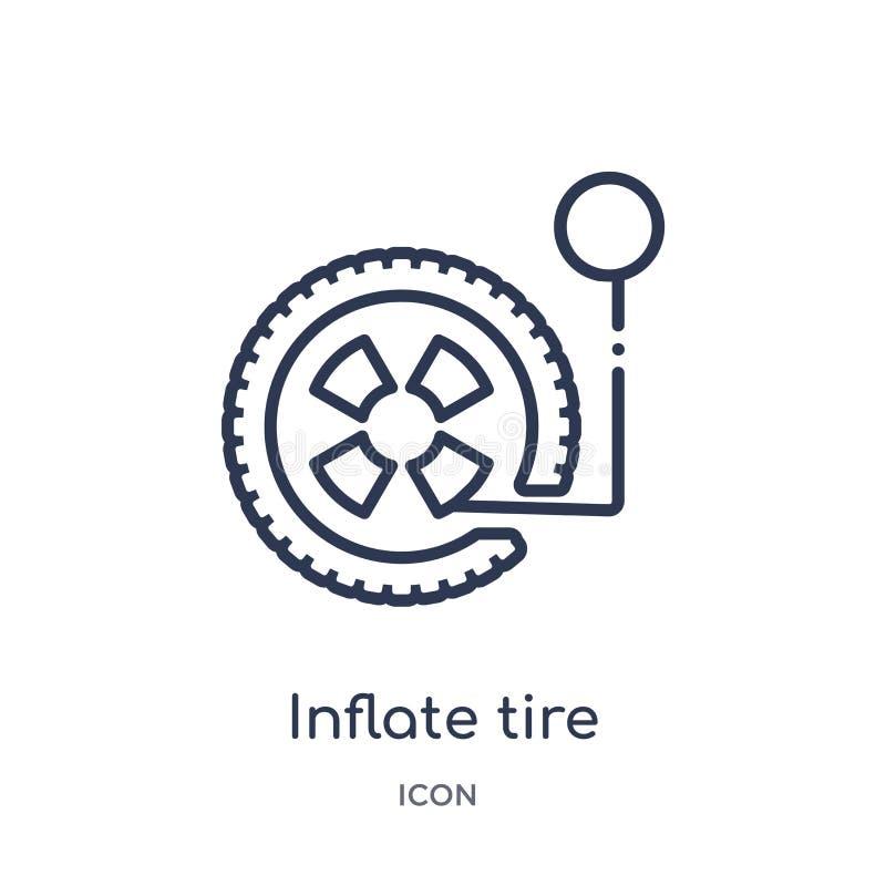 Linear infle el icono del neumático de la colección del esquema general La línea fina infla el icono del neumático aislado en el  stock de ilustración