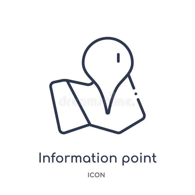 Linear information point icon from Maps and location outline collection. Thin line information point icon isolated on white vector illustration