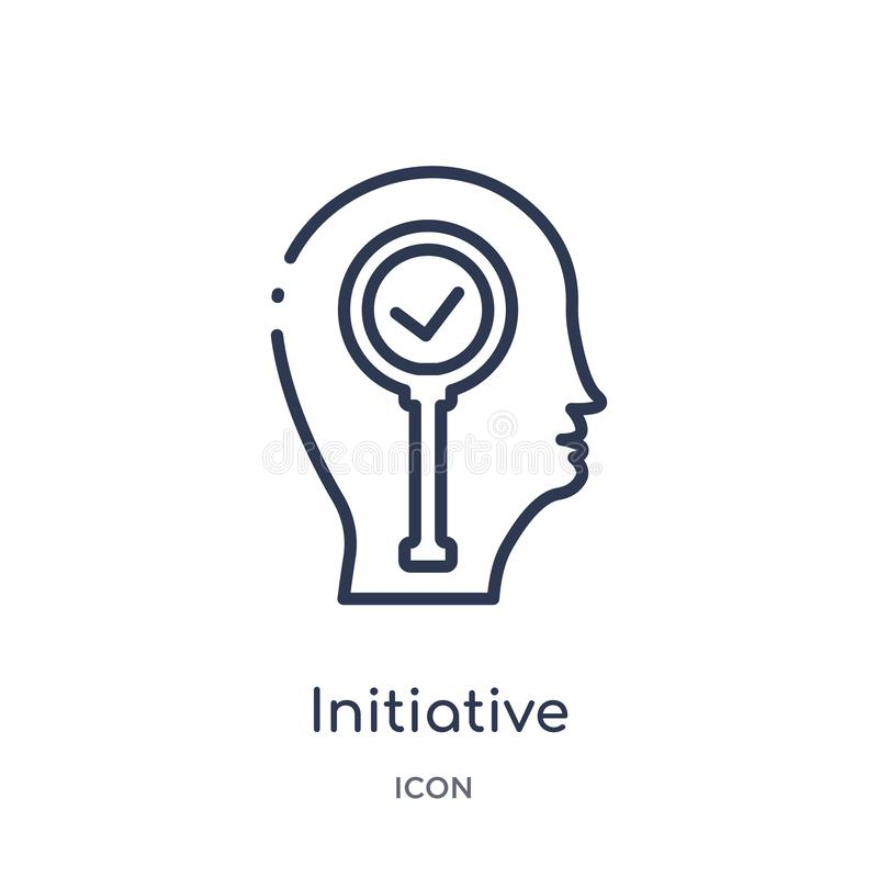 Linear initiative icon from Brain process outline collection. Thin line initiative vector isolated on white background. initiative stock illustration