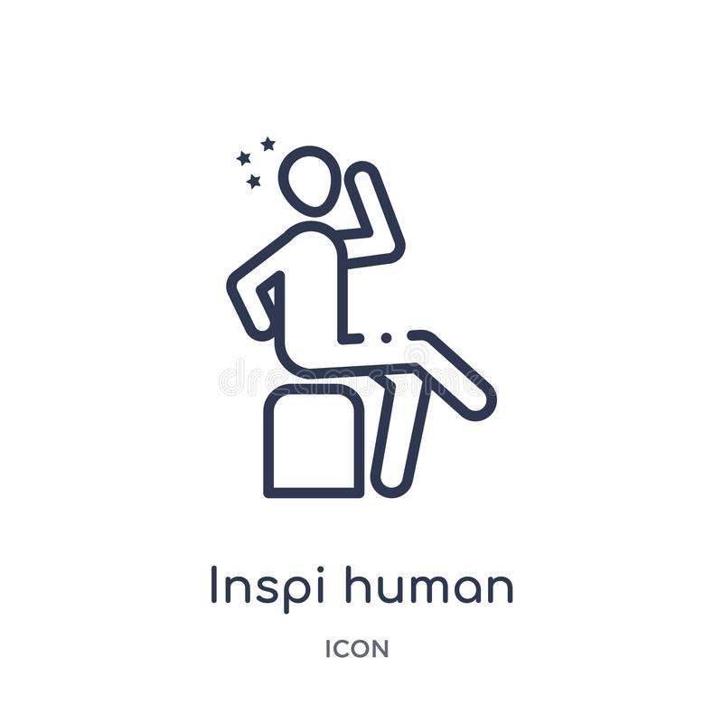 Linear inspi human icon from Feelings outline collection. Thin line inspi human vector isolated on white background. inspi human stock illustration