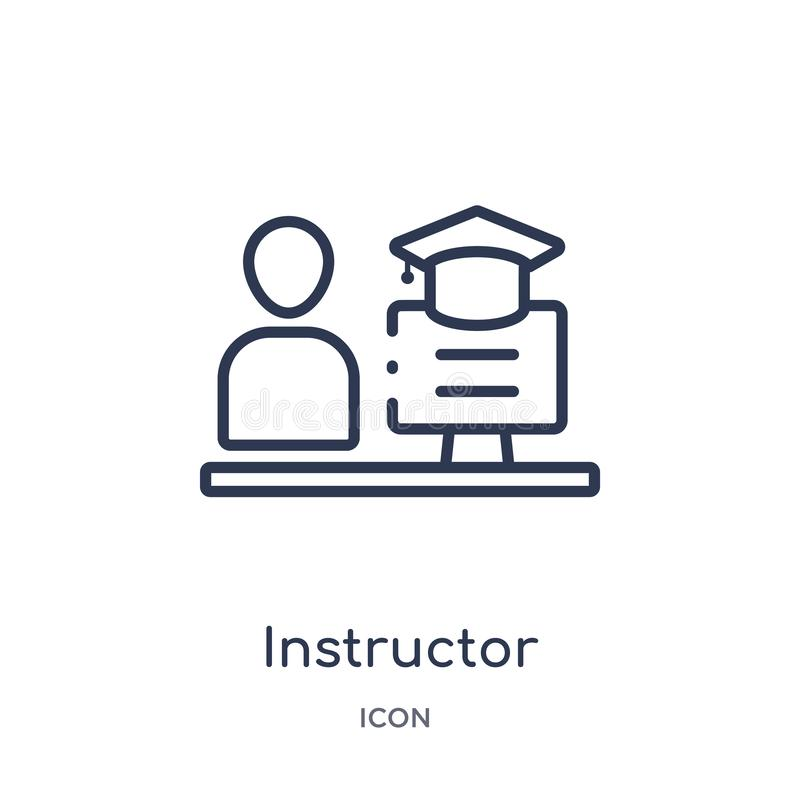 Linear instructor icon from Elearning and education outline collection. Thin line instructor vector isolated on white background. vector illustration