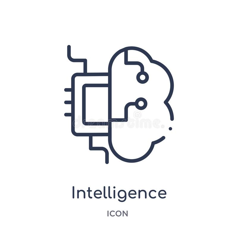 Linear intelligence icon from Artifical intelligence outline collection. Thin line intelligence vector isolated on white stock illustration