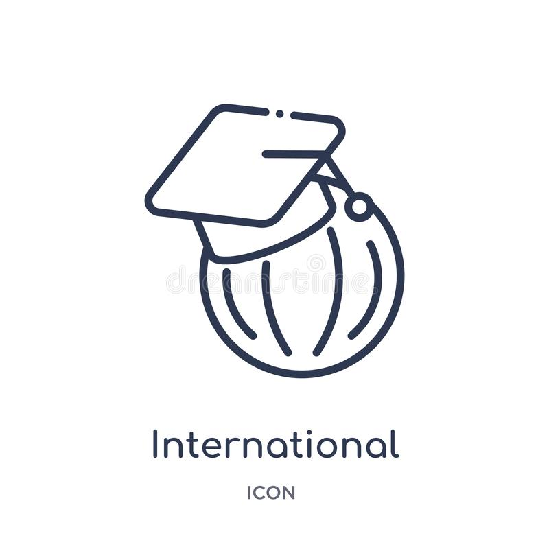 Linear international graduate icon from Education outline collection. Thin line international graduate icon isolated on white stock illustration