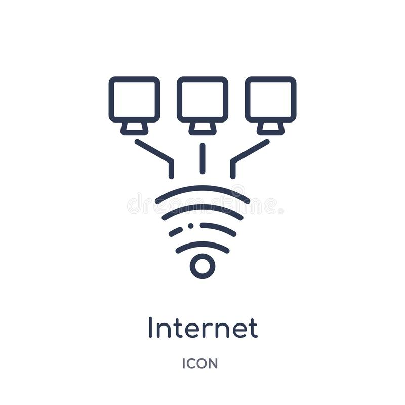 Linear internet connection icon from Internet security and networking outline collection. Thin line internet connection icon royalty free illustration