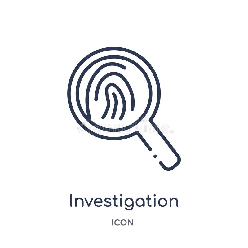 Linear investigation icon from Law and justice outline collection. Thin line investigation icon isolated on white background. vector illustration